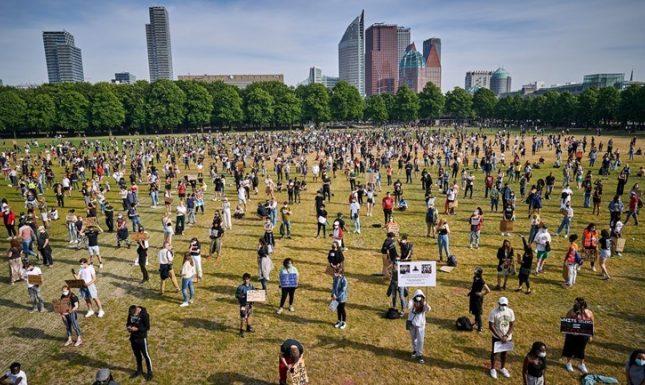 Het protest van Black Lives Matter op het Malieveld van 2 juni Foto ANP